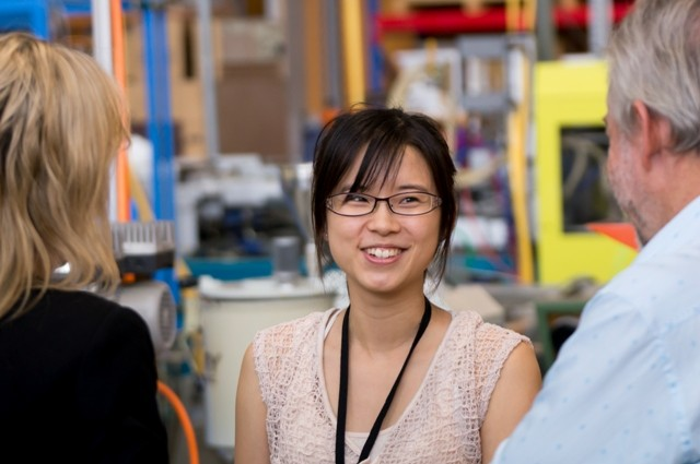 Photo of PhD student Sandy Lin with Nikki Kay and Graeme Finch